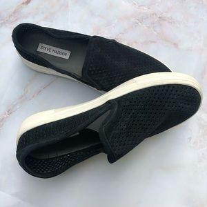 SteveMadden Black Suede Perforated Slip On Sneaker